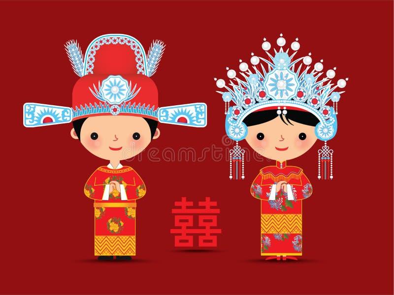 Mariage chinois de bande dessinée de jeunes mariés illustration de vecteur