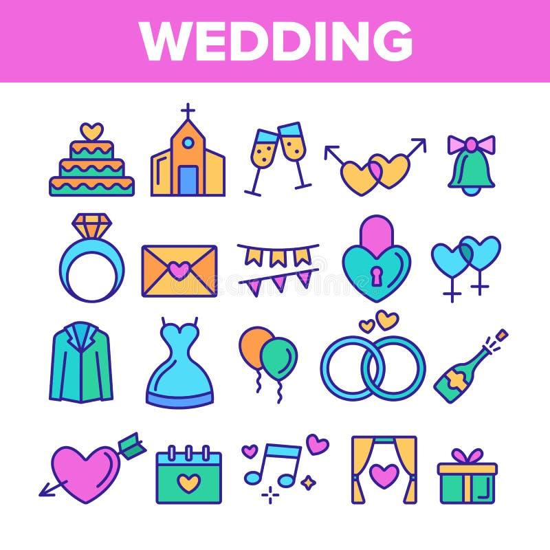 Mariage de couleur et ensemble linéaire s'engageant d'icônes de vecteur illustration libre de droits