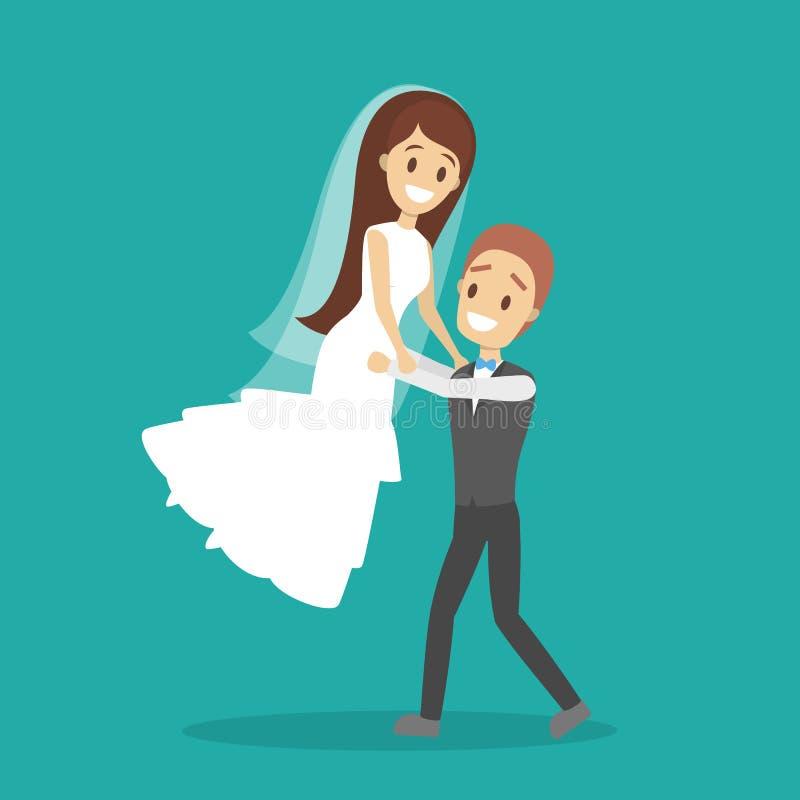 Mariage de couples Mariée et marié Personnes romantiques illustration de vecteur