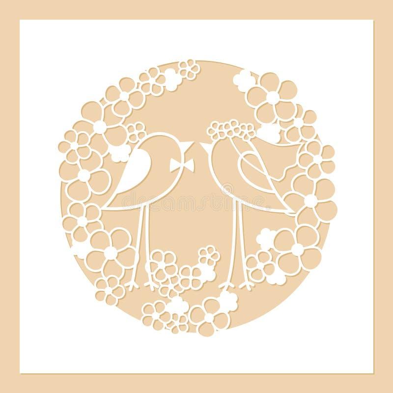 Mariage de deux oiseaux parmi les fleurs Guirlande ronde à jour des fleurs Calibre de coupe de laser illustration stock