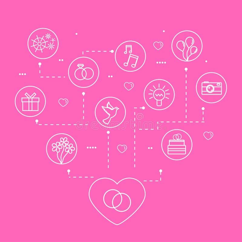 Mariage de vecteur et icônes linéaires d'amour illustration libre de droits