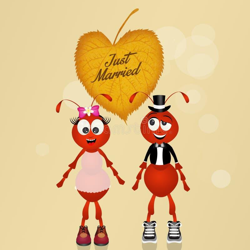 Mariage des fourmis illustration de vecteur