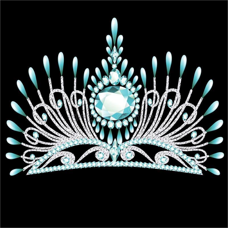 Mariage féminin de corona de diadème avec la pierre bleue illustration libre de droits