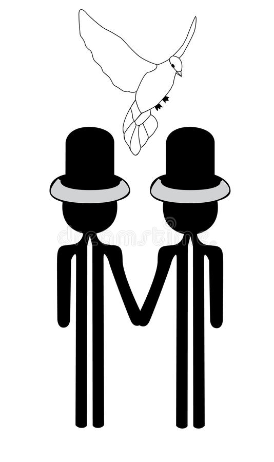 Mariage homosexuel de couples illustration stock
