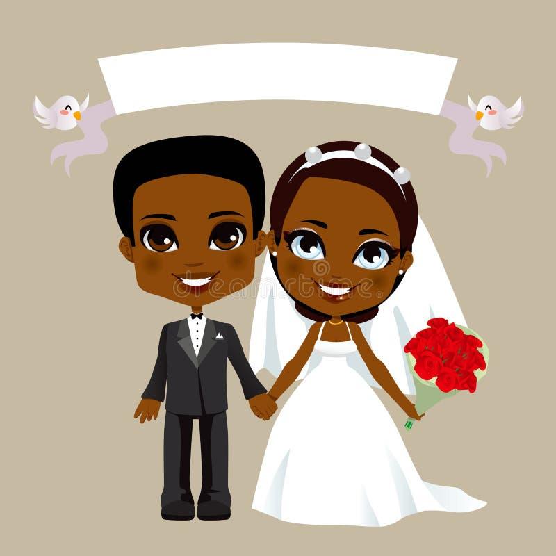 Mariage noir de couples illustration stock