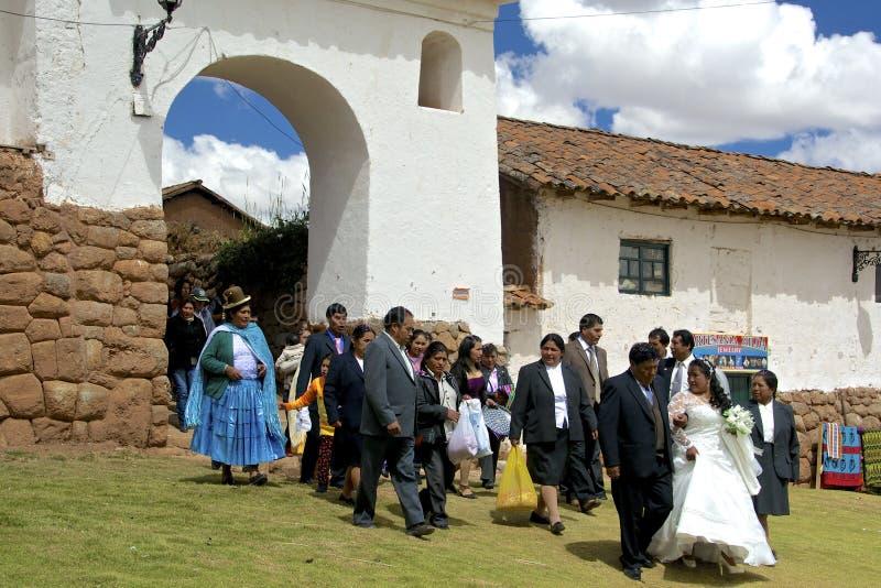 Mariage Quechua traditionnel peru image libre de droits