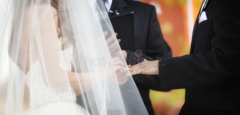 Mariage Ring Exchange Horizontal Banner photos libres de droits