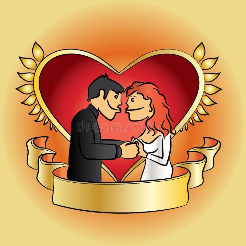 Mariage romantique réglé avec les couples de baiser illustration stock
