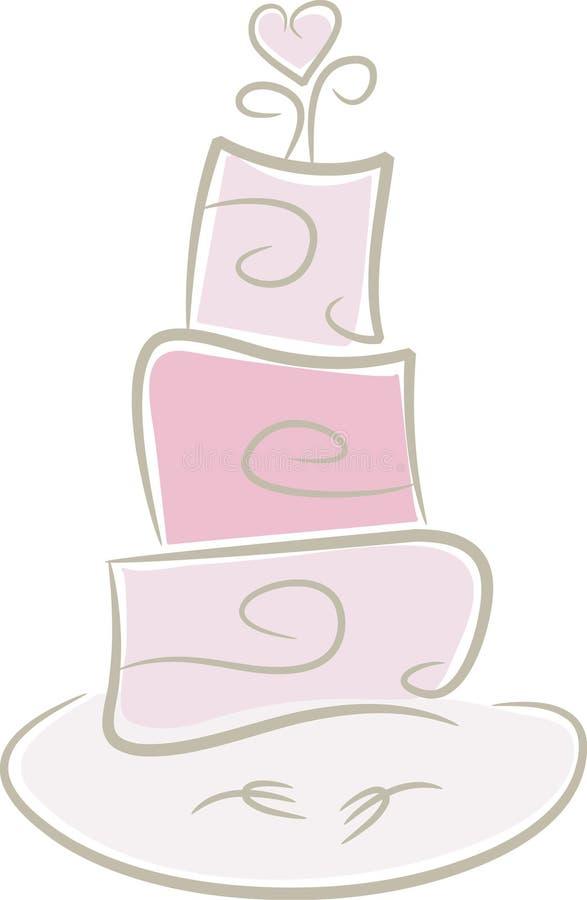 mariage rose de gâteau illustration stock