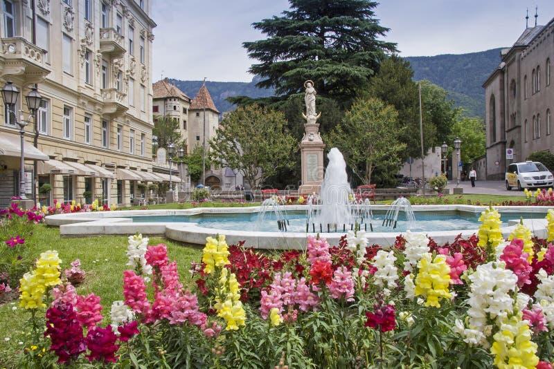 Marian Column en Meran en el Tyrol del sur fotografía de archivo libre de regalías
