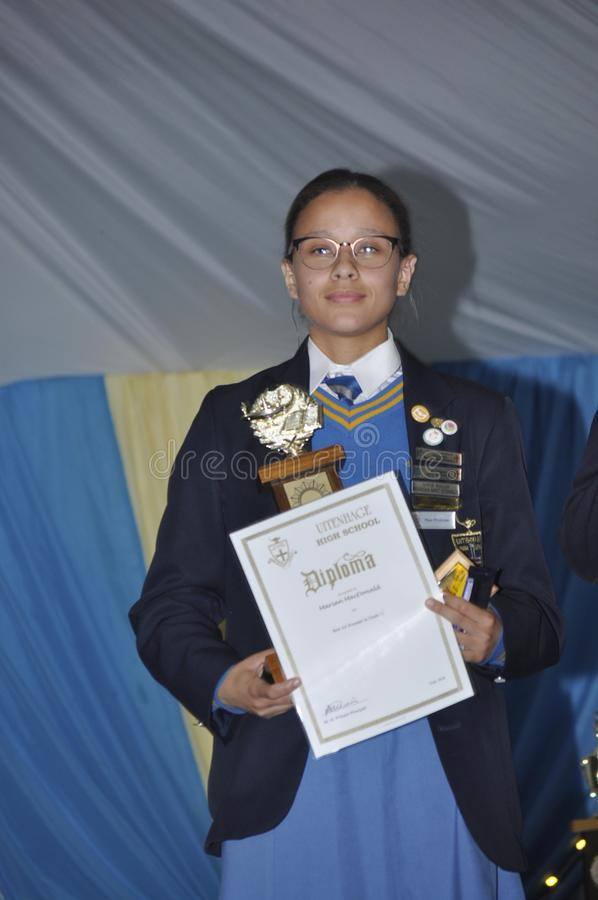 Top performers in Grade 11 at Uitenhage High School. Marian MacDonald is one of the top achievers for grade 11.She was also elected Deputy Prefect for 2019 royalty free stock image