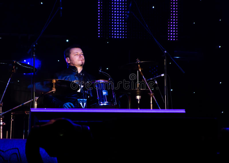 Marian Săracu. (drums) from Bere Gratis (Free Beer) Band at New Years Eve 2014 concert organized by District 3, Bucharest royalty free stock images