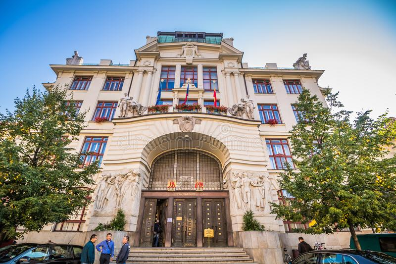 Marian Square Marià ¡ nské nà ¡ mÄ› stà in de Oude Stad van Praag, Tsjechische Republiek stock foto's