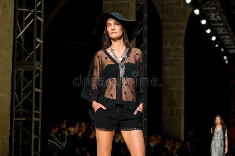 Mariana Coldebella (model) walks the runway for the Mango collection stock photos