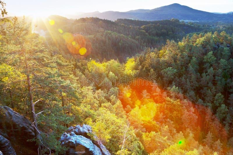 Marianina punkt obserwacyjny od Vilemina widoku punktu, Jetrichovice region, czech Szwajcaria, republika czech zdjęcie royalty free
