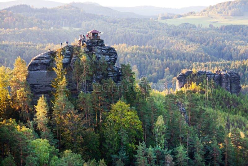 Marianina punkt obserwacyjny od Vilemina widoku punktu, Jetrichovice region, czech Szwajcaria, republika czech obraz stock