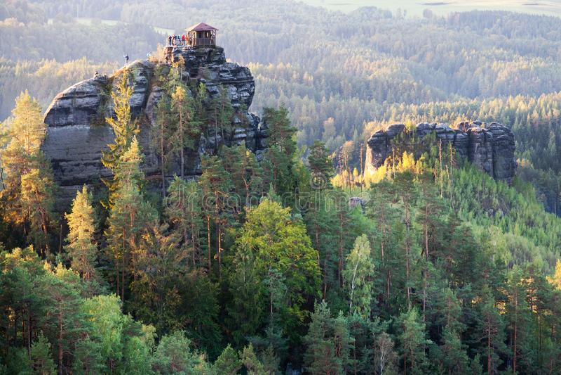 Marianina punkt obserwacyjny od Vilemina widoku punktu, Jetrichovice region, czech Szwajcaria, republika czech obrazy royalty free