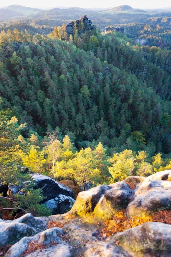 Marianina punkt obserwacyjny od Vilemina widoku punktu, Jetrichovice region, czech Szwajcaria, republika czech zdjęcie stock