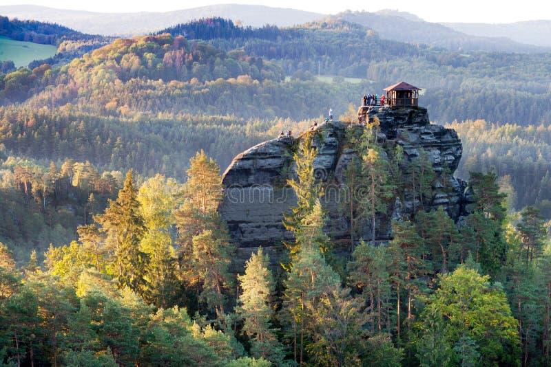 Marianina punkt obserwacyjny od Vilemina widoku punktu, Jetrichovice region, czech Szwajcaria, republika czech fotografia royalty free