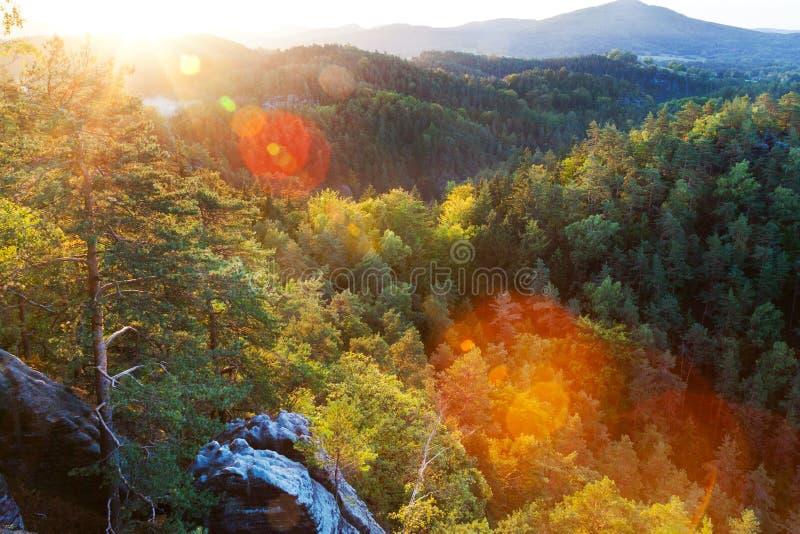 Marianina punkt obserwacyjny od Vilemina widoku punktu, Jetrichovice region, czech Szwajcaria, republika czech zdjęcia royalty free