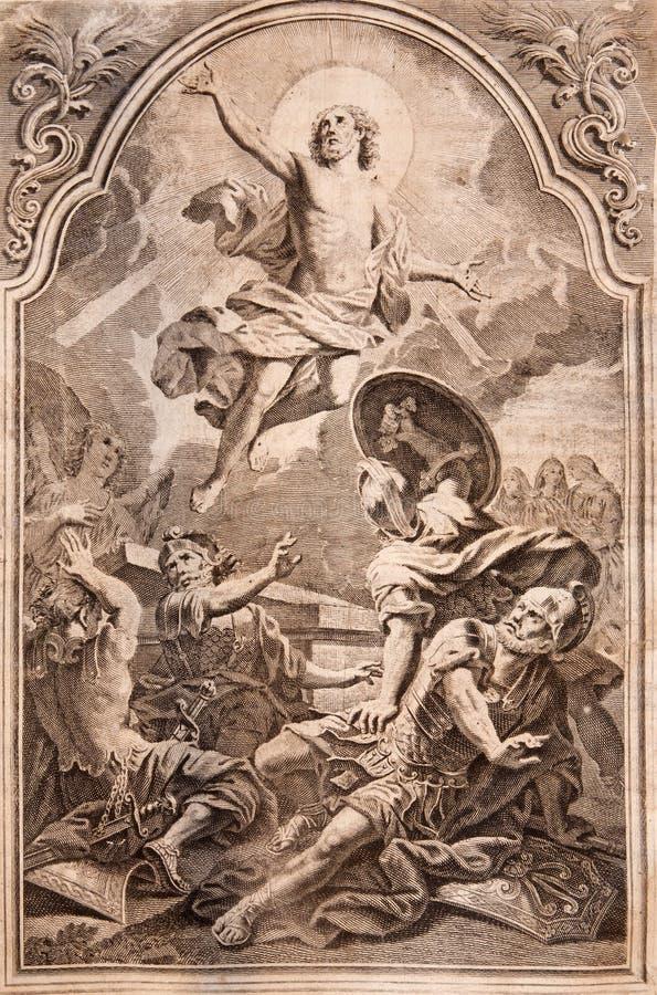 MARIANKA - 12月4日:复活 在Missale romanum的石版印刷印刷品由Augustae Vindelicorum出版了在年1727 库存图片