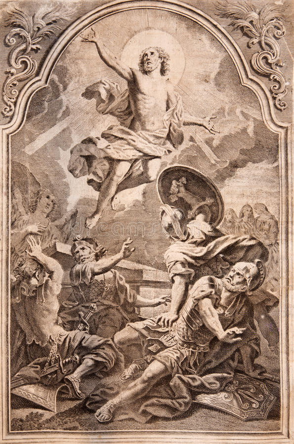 MARIANKA - 4 DE DICIEMBRE: Resurrección La impresión de la litografía en el romanum de Missale publicó por Augustae Vindelicorum  imagenes de archivo