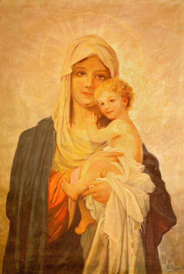 MARIANKA SLOVAKIEN - DECEMBER 4, 2012: Målningen av Madonna vid J Balogh i församlingbyggnad av Marianka arkivbild