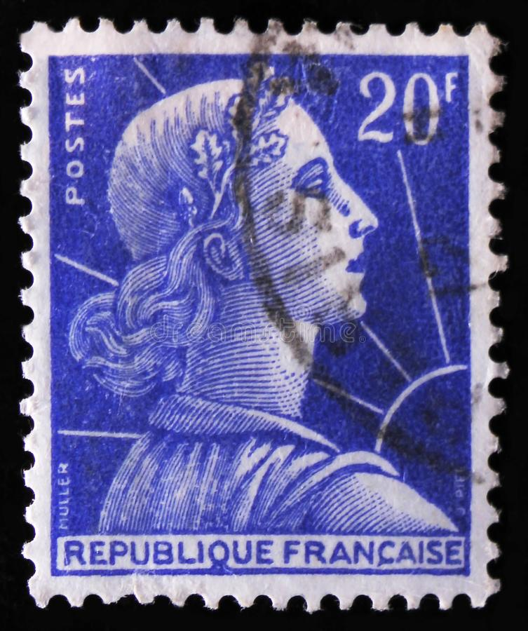 Marianne Louis-Charles Muller, emblem of France, circa 1955. MOSCOW, RUSSIA - APRIL 2, 2017: A post stamp printed in France shows Marianne Louis-Charles Muller stock photos