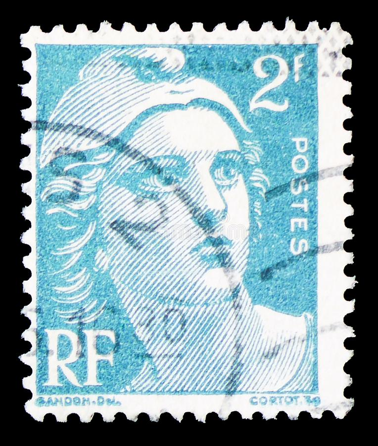 Marianne type Gandon, serie, circa 1945. MOSCOW, RUSSIA - MARCH 30, 2019: A stamp printed in France shows Marianne type Gandon, serie, circa 1945 stock photo