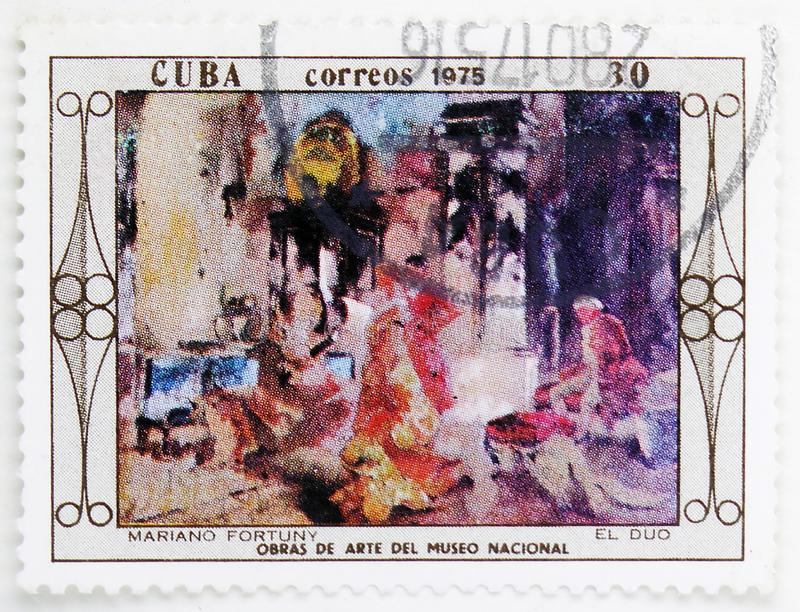 Mariano Fortuny : El duo, Paintings from the National Museum serie, circa 1975. MOSCOW, RUSSIA - JULY 25, 2019: Postage stamp printed in Cuba shows Mariano royalty free stock photo