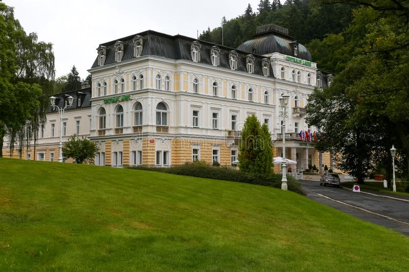 Traditional spa Hotel in Marianske Lazne stock image