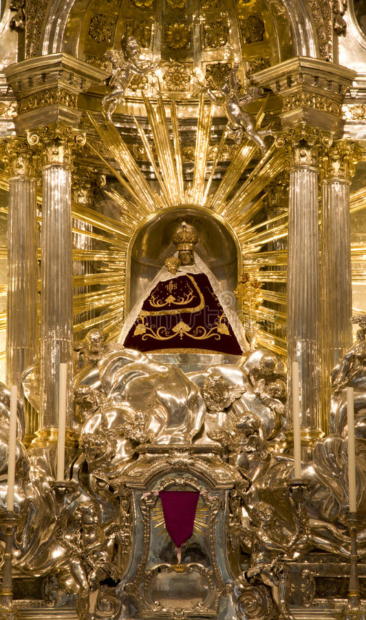 Mariazell basilica - holy Mary statue stock photography