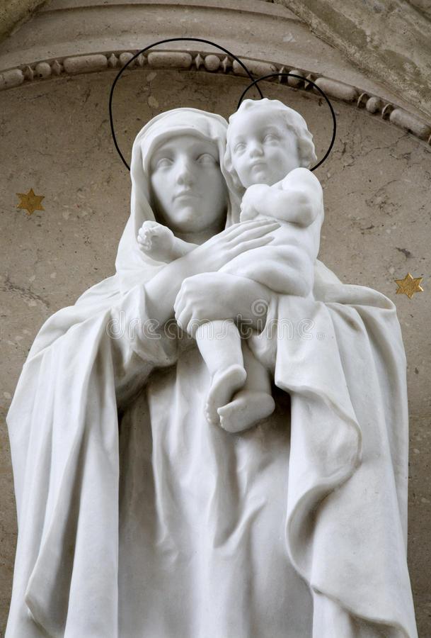 Mariazell - holy Mary statue. By the basilica stock image