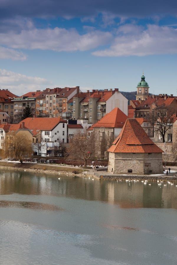 Maribor. In Slovenia with river Drava stock photos