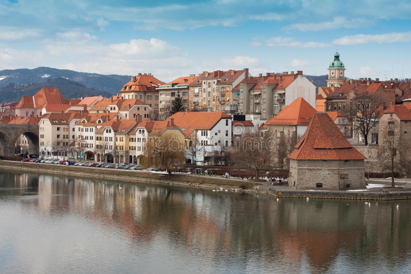 Maribor. In Slovenia with river Drava royalty free stock image