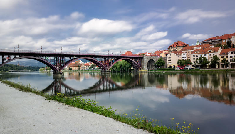 Maribor bridge. Historical red bridge (Glavni most) in Maribor city in Slovenia stock photo