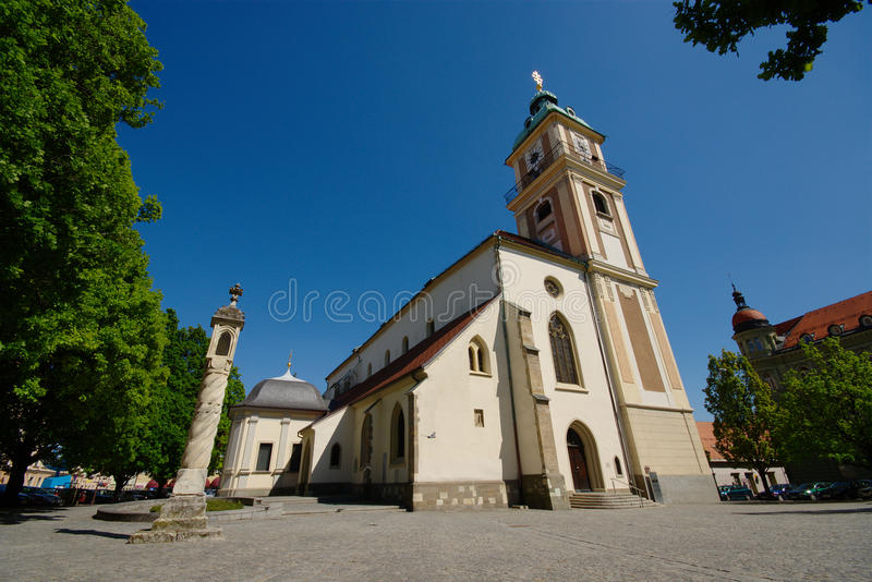 Maribor Cathedral. And Slomšek square with trees and blue sky on sunny day in spring royalty free stock photography