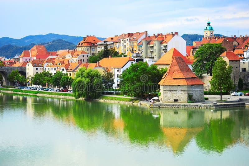 Maribor cityscape. Skyline of Maribor city in the sunshine day, Slovenia stock photos