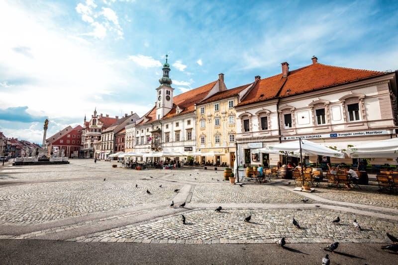 Maribor, la plaza principal eslovenia fotografía de archivo