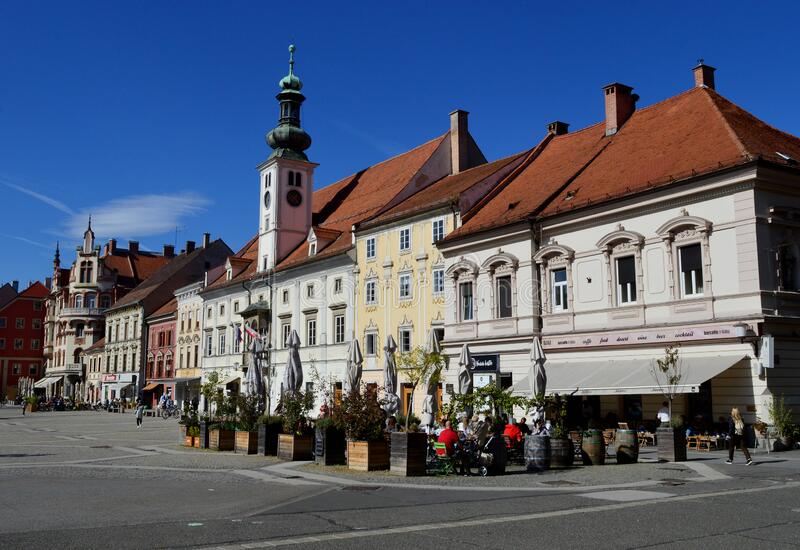 Maribor Main Square and Town Hall. Maribor, Slovenia. Maribor is the second-largest city in Slovenia and the largest city of the traditional region of Lower stock images