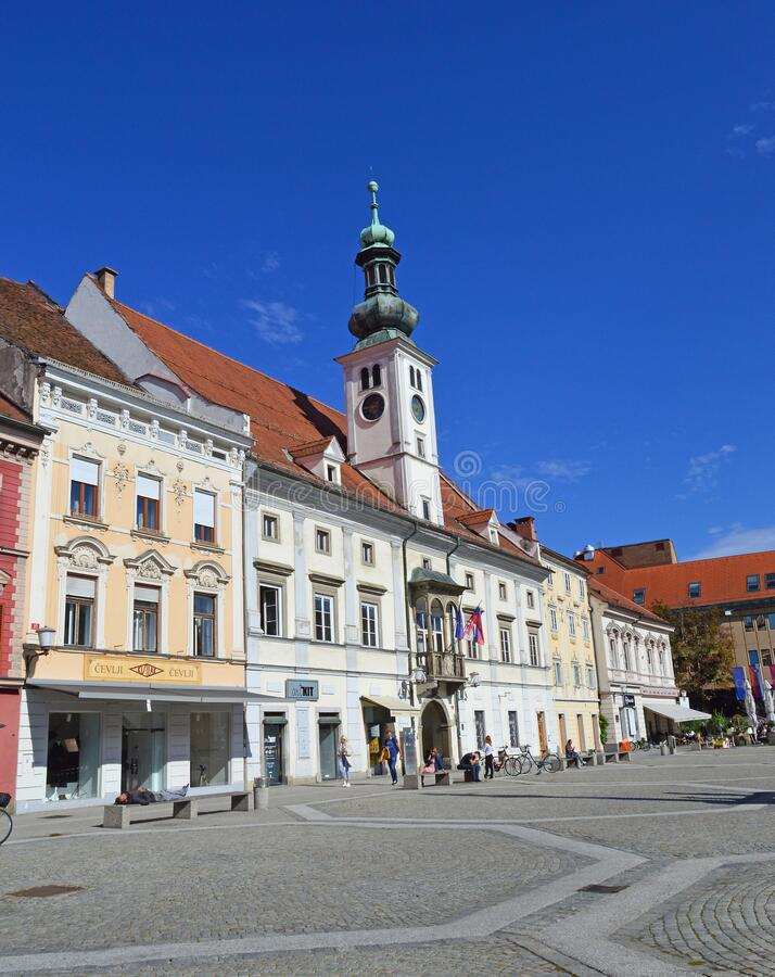 Maribor Main Square and Town Hall. Maribor, Slovenia. Maribor is the second-largest city in Slovenia and the largest city of the traditional region of Lower stock photography