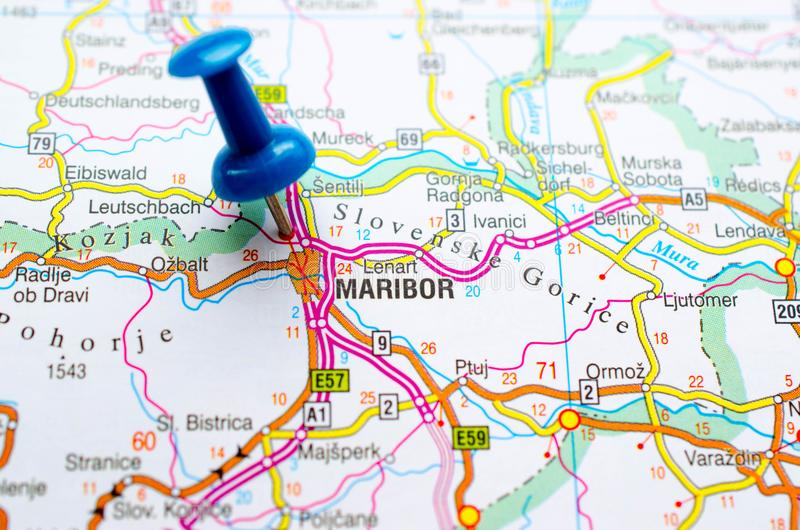 Maribor on map. With push pin. Marburg an der Drau stock images