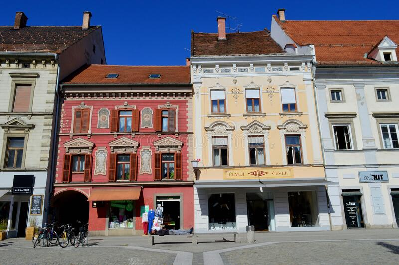 Maribor Main Square Buildings. Maribor, Slovenia. Maribor is the second-largest city in Slovenia and the largest city of the traditional region of Lower Styria royalty free stock photography