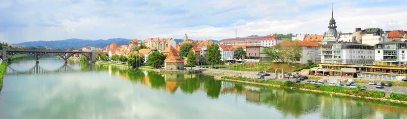 Maribor skyline. Panoramic view of Maribor city, Slovenia stock photography