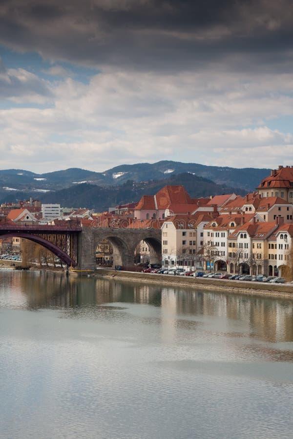 Maribor in Slovenia. With river Drava stock image