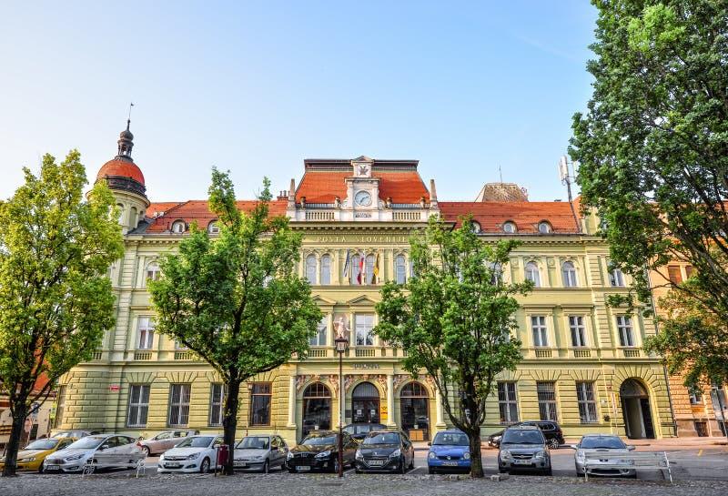 Maribor, Slovenia - 22 maggio 2018: Bello esterno della costruzione dell'ufficio postale di Maribor Ulica di Postna della via e q immagine stock libera da diritti