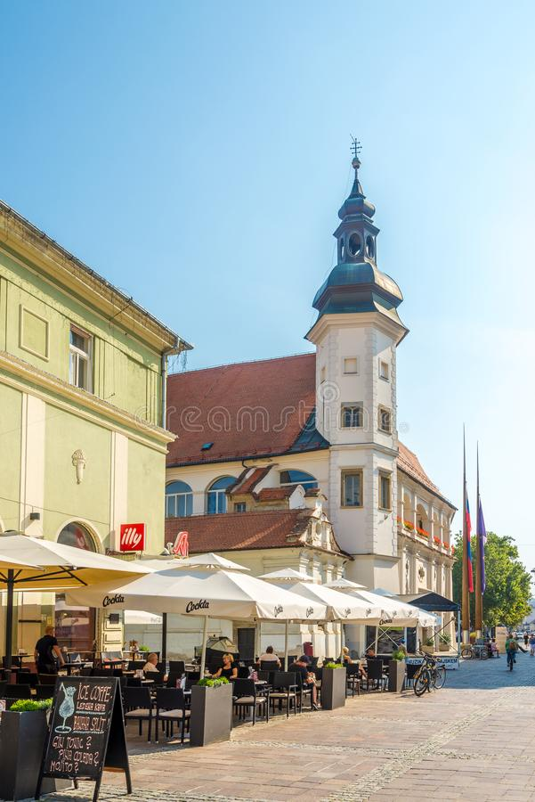 In the streets of Maribor in Slovenia. MARIBOR,SLOVENIA - SEPTEMBER 1,2019 - In the streets of Maribor. Maribor is the second-largest city in Slovenia stock photos