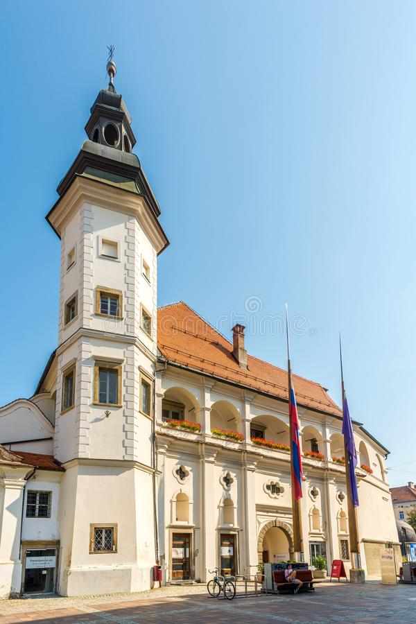 View at the Old Castle in the streets of Maribor in Slovenia. MARIBOR,SLOVENIA - SEPTEMBER 1,2019 - View at the Old Castle in the streets of Maribor. Maribor is stock photo