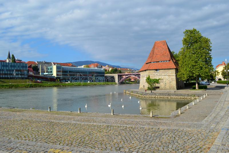 Maribor, Slovenia. View on river in Maribor, Slovenia royalty free stock photos