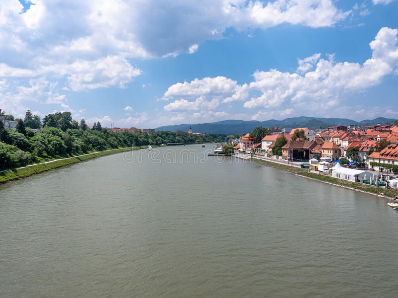 Maribor. The view from the bridge over the river Drava royalty free stock images